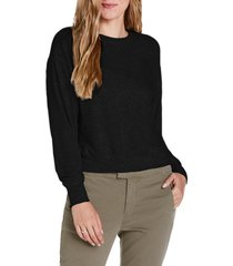women's michael starts crewneck pullover top, size large - black