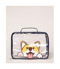 nécessaire maleta com alça estampa de cachorro azul marinho