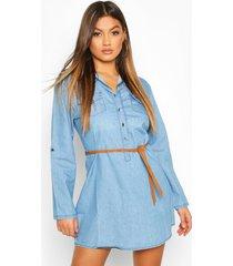 denim belted button front shirt dress, mid blue