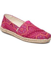 pink multi floral woven sandaletter expadrilles låga rosa toms