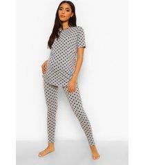 zwangerschap sterrenprint pyjama set, grijs