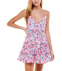 city studios juniors' floral-print fit & flare dress