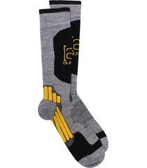 burton ak panelled jacquard logo endurance socks - grey