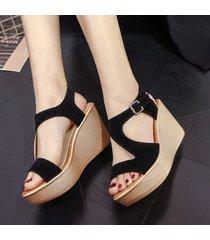 zapatos de mujer cuña sandalias de mujer hebilla boca de pescado punta abierta tacones altos