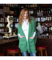 merino wool pocket shawl green