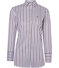 camisa dudalina manga longa tricoline fio tinto listrado irregular feminina (listrado, 46)