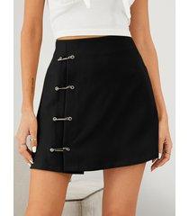 minifalda acampanada de cintura alta con diseño de pin de seguridad yoins