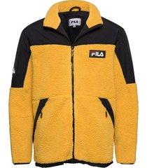 men manolo sherpa fleece jacket sweat-shirt trui geel fila