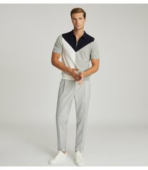 reiss butler - colour block zip neck polo shirt in navy, mens, size xxl