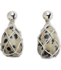 dalmatian knit jasper earrings