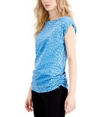 alfani abstract-print ruched-side top, created for macy's