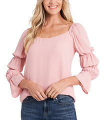 cece petite square-neck tiered-puff-sleeve blouse