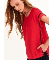 bluzka larime z kontrastowymi wykończeniami