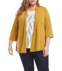 plus size women's karen kane molly open front cardigan, size 3x - metallic