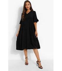 gesmokte jurk met laagjes en franjes, black