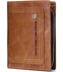 portafoglio tascabile per uomo con cerniera rimovibile in vera pelle di grande capacità per uomo
