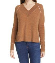 women's veronica beard preta v-neck cashmere sweater, size x-large - beige