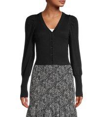 lea & viola women's cropped cardigan - black - size xs