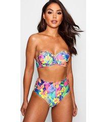 tropische bikini met hoge taille en beugel, blauw