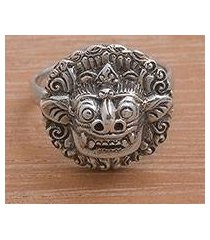 sterling silver cocktail ring, 'balinese guardian' (indonesia)