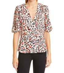 ted baker london coralo animal print top, size 6 in pl-pink at nordstrom