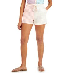 style & co petite striped drawstring shorts, created for macy's
