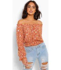 chiffon bloemenprint blouse met metallic stippen, roest