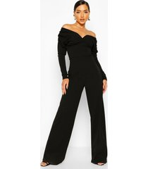 bardot ruched sleeve detail wide leg jumpsuit, black