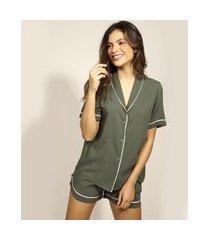 pijama feminino camisa com viés contrastante manga curta verde