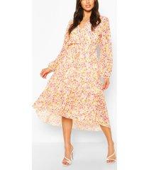 bloemenprint midi wikkel jurk met losvallende zoom en gelaagde rok, oranje