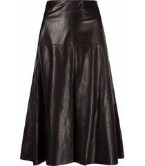 arma flared leather skirt - black