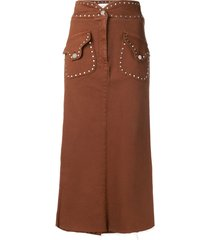 alberta ferretti stud-embellished midi skirt - brown