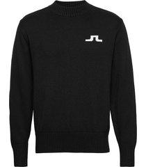 beckert-wool coolmax gebreide trui met ronde kraag zwart j. lindeberg