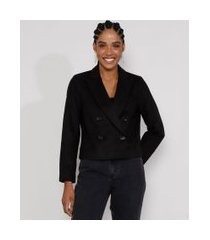 blazer feminino transpassado com botões preto