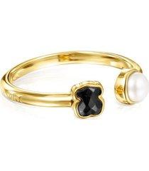 anillo tous glory de oro vermeil con ónix y perla 918595530