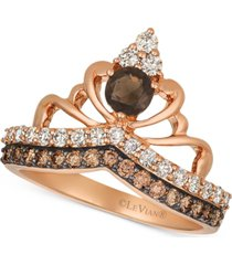 le vian chocolate smoky quartz (1/4 ct. t.w.) & diamond (3/4 ct. t.w.) tiara ring in 14k rose gold