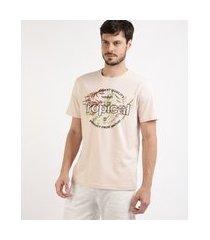 """camiseta masculina tropical manga curta gola careca rosa claro"""""""