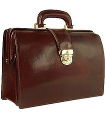 forzieri designer doctor bags, dark brown italian leather buckled compact doctor bag