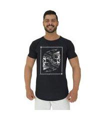 camiseta longline alto conceito ases indígena preto