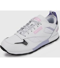 tenis lifestyle blanco-lila-rosa reebok leather ree:dux