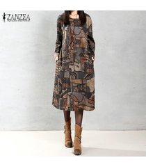 zanzea otoño mujer vintage midi dress manga larga cuello redondo bolsillos estampado geométrico casual bata suelta vestidos (café) -marrón