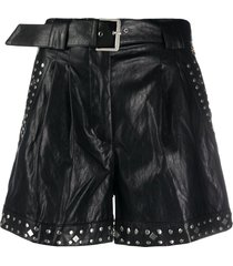 twin-set faux-leather studded shorts - black