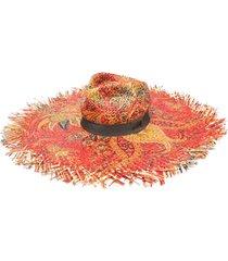 etro wide brim raffia hat - red