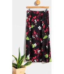 imora floral midi skirt - black