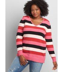 lane bryant women's long-sleeve v-neck sweater 22/24 pink multi stripe
