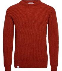 runar knit stickad tröja m. rund krage orange makia