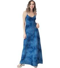 vestido largo berlin azul lente lycra maria paskaro