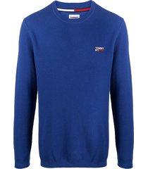 tommy jeans embroidered-logo jumper - blue