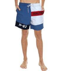 traje de baño azul-blanco-rojo nautica