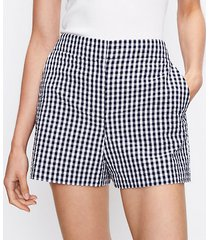 loft petite structured shorts in gingham